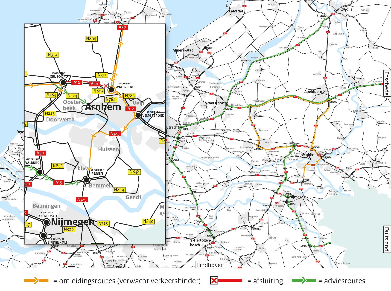 Rijkswaterstaat waarschuwt voor ernstige hinder in de regio Arnhem