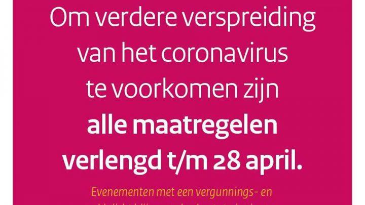 Coronamaatregelen verlengd tot en met dinsdag 28 april