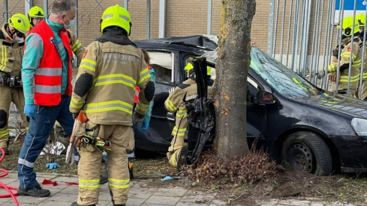 Bestuurder raakt macht over het stuur kwijt en rijdt tegen een boom